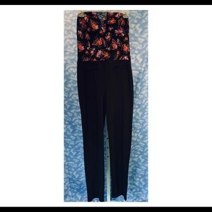 Guess strapless black jumpsuit w/floral top, 4 NWT